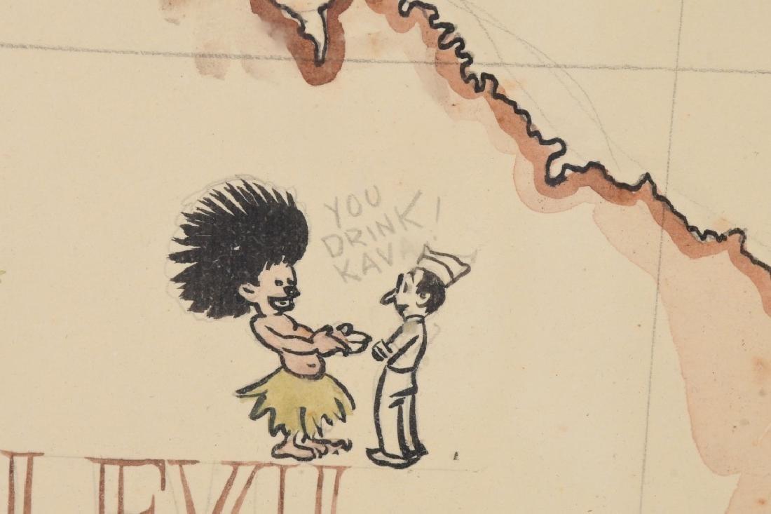 WWII US FIJI ISLAND SOLDIER ART MAPS SHORT SNORTER - 9