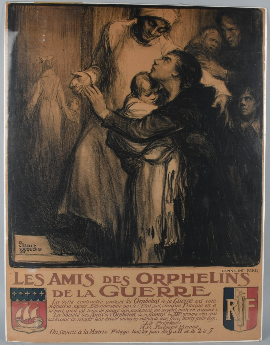 WWI FRENCH FRIENDS OF ORPHANS PATRIOTIC POSTER