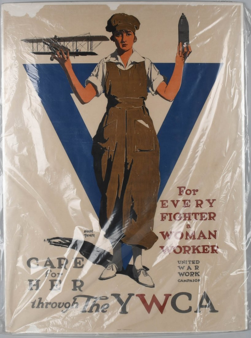 WWI YWCA WOMAN WORKER PATRIOTIC POSTER