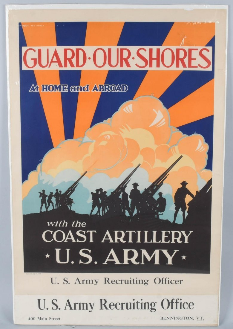 WWII GUARD OUR SHORES, PATRIOTIC POSTER