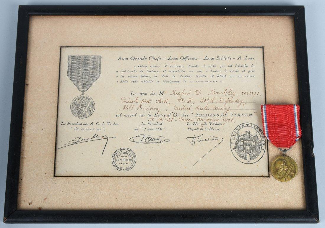 WWI U.S. RECIPIENT FRENCH VERDUN MEDAL & CERT.