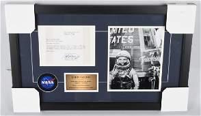 John Glenn signed letter framed JSA