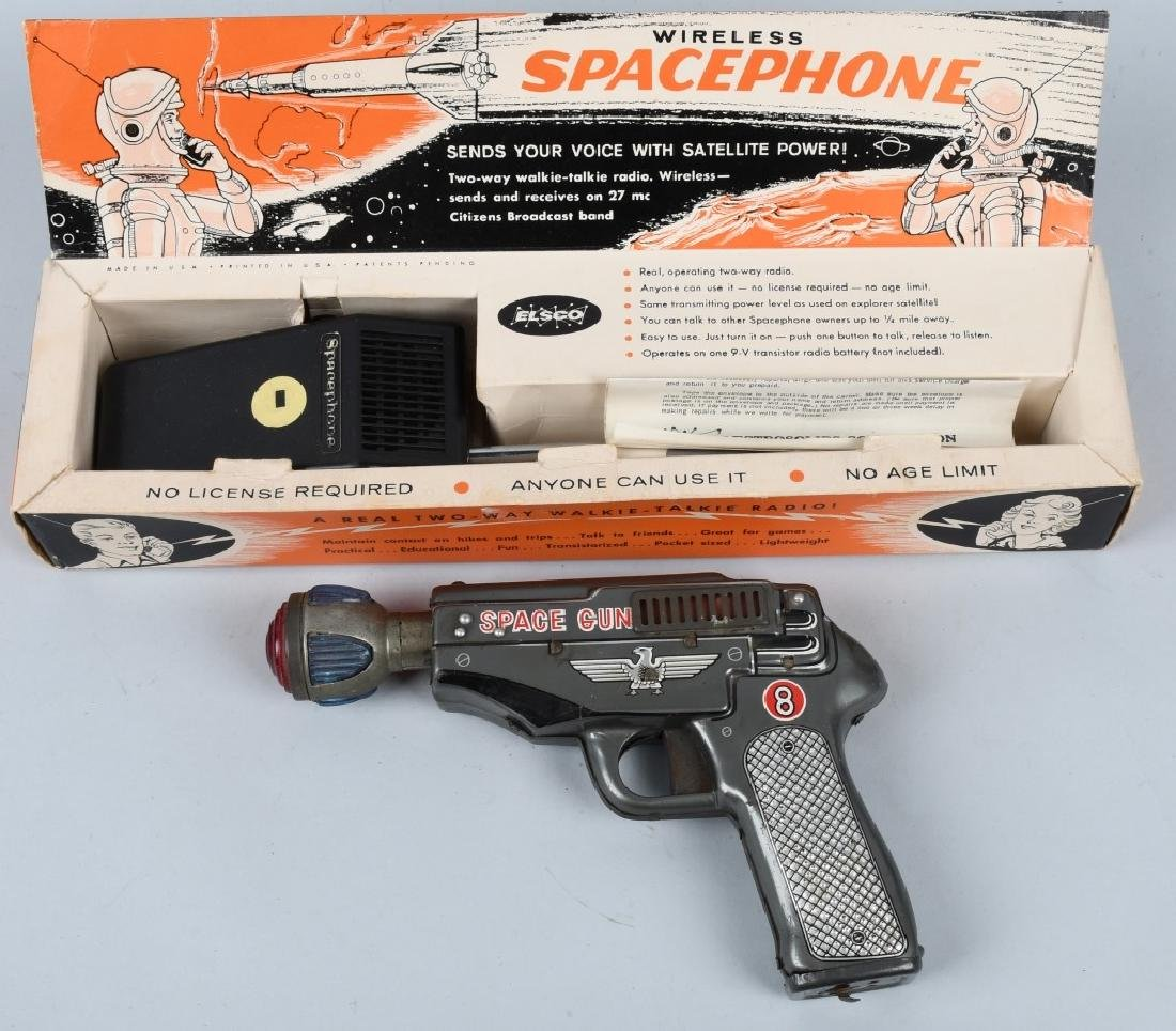 SPACE GUN TIN Battery Op & BOXED SPACE PHONE