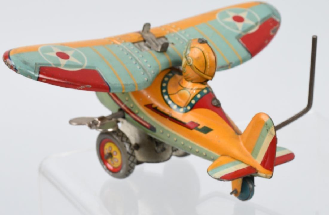 JAPAN 1930's TIN windup ROLLOVER AIRPLANE - 2