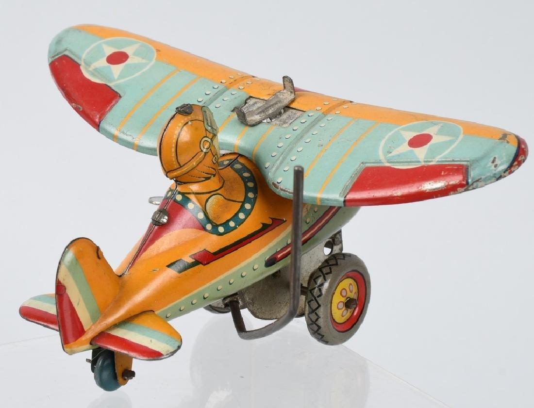 JAPAN 1930's TIN windup ROLLOVER AIRPLANE - 3