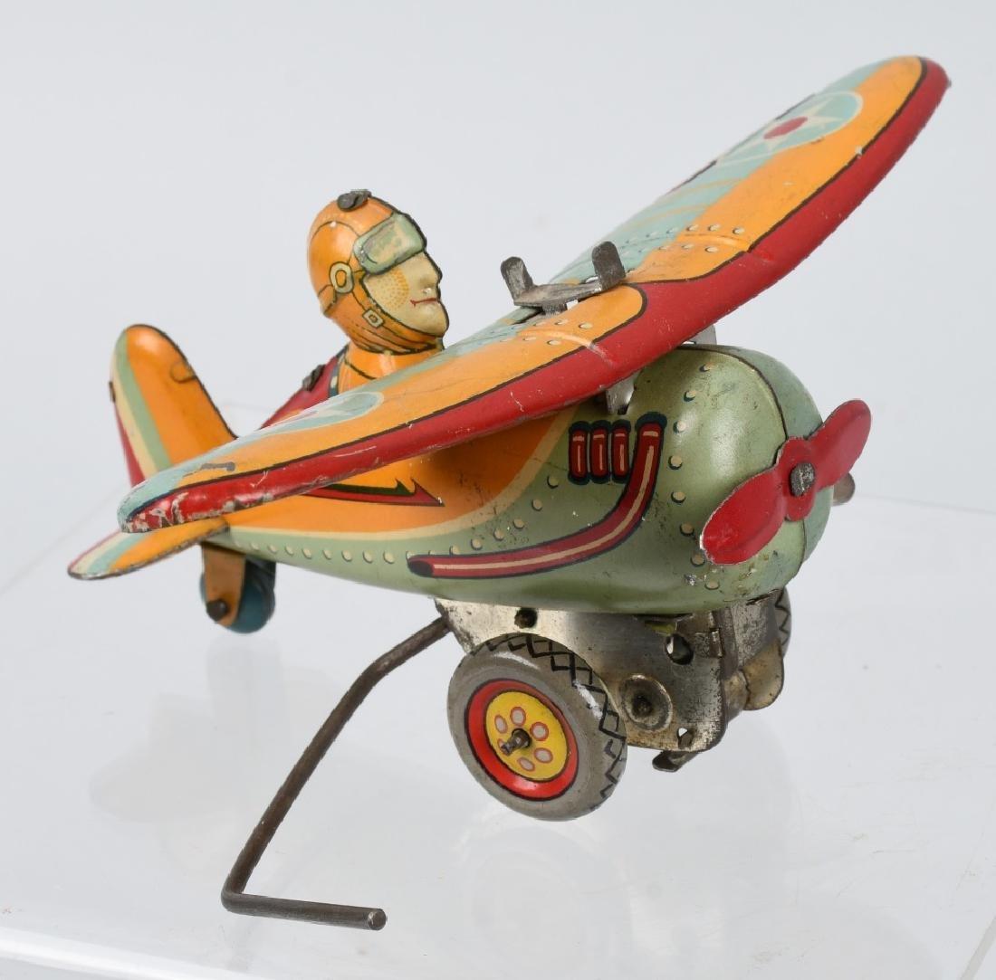 JAPAN 1930's TIN windup ROLLOVER AIRPLANE - 4