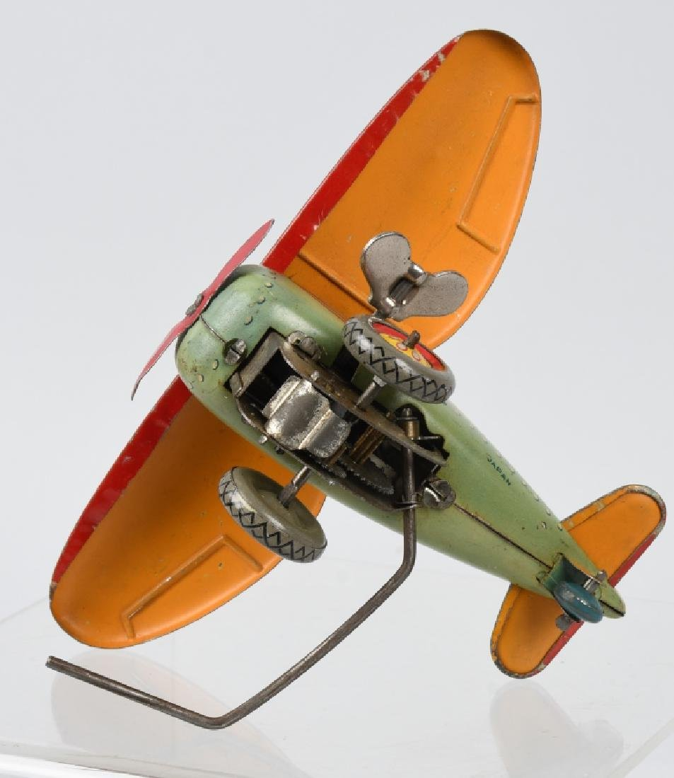 JAPAN 1930's TIN windup ROLLOVER AIRPLANE - 5
