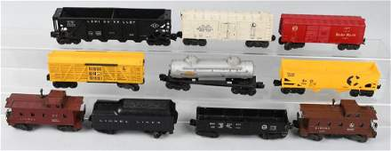 10  LIONEL O GAUGE ROLLING STOCK and TRACK