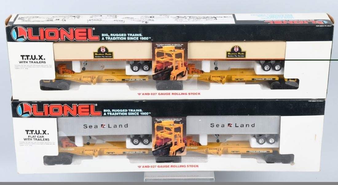2-LIONEL T.T.U.X. FLAT CARS w/ TAILERS, BOXED