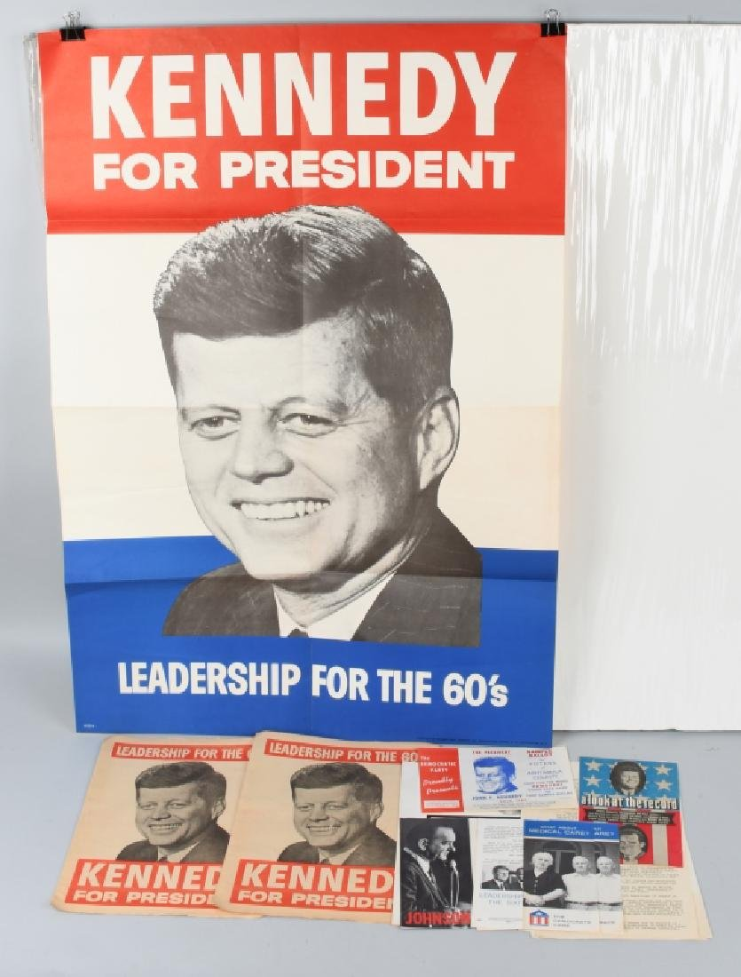 JOHN F KENNEDY POSTERS, PAMPHLETS, NOTES, & MORE