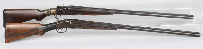 2- SxS 12 GA. SHOTGUNS, BAKER and STEVENS