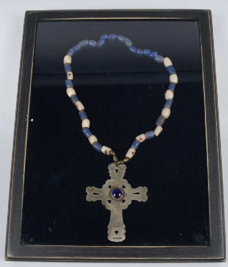 "TRADE SILVER CROSS and BEAD NECKLACE, ""MONTREAL"""
