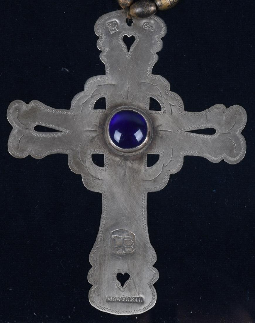 "TRADE SILVER CROSS and BEAD NECKLACE, ""MONTREAL"" - 2"
