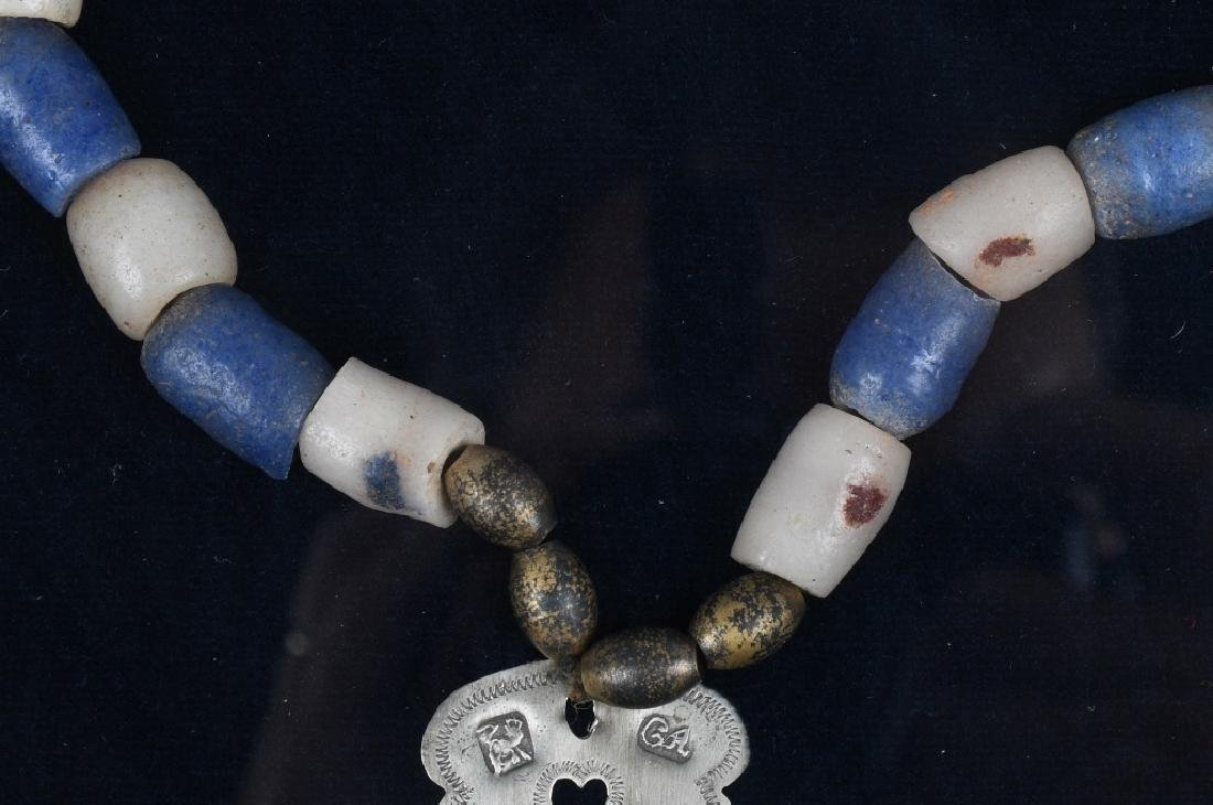 "TRADE SILVER CROSS and BEAD NECKLACE, ""MONTREAL"" - 6"