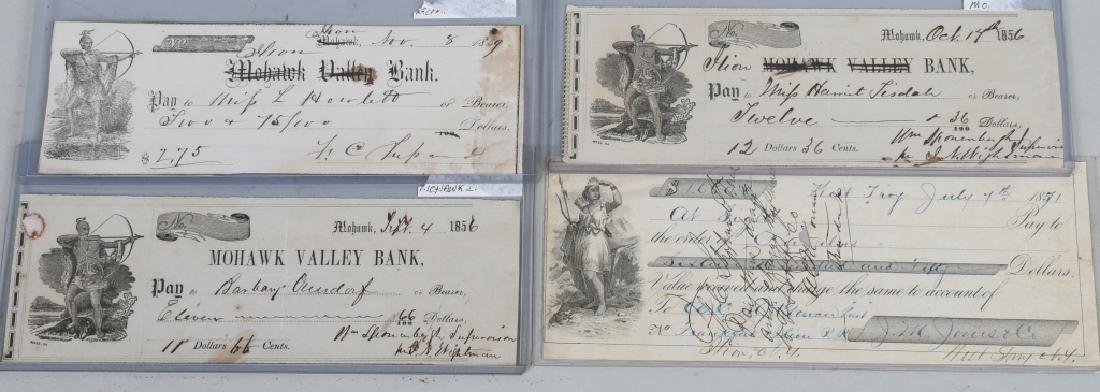 1850s MOHAWK VALLEY & ILLION BANK CHECKS W INDIANS - 2