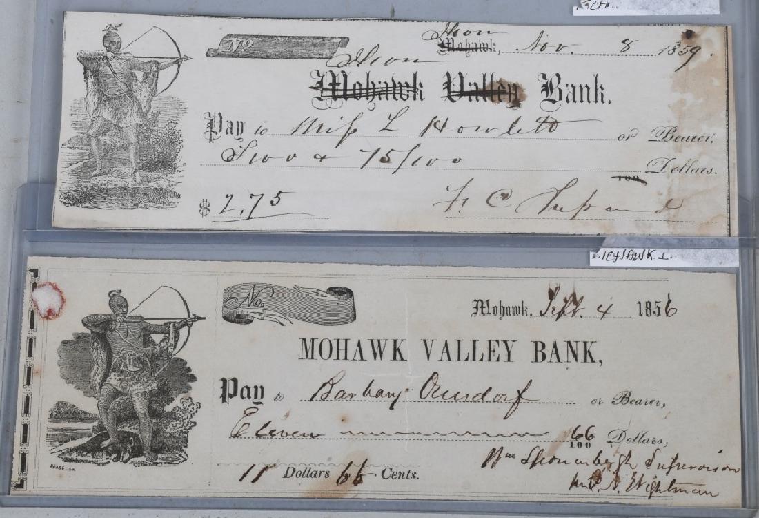 1850s MOHAWK VALLEY & ILLION BANK CHECKS W INDIANS - 3