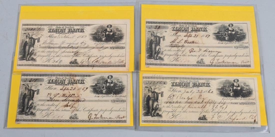 1850s MOHAWK VALLEY & ILLION BANK CHECKS W INDIANS - 4