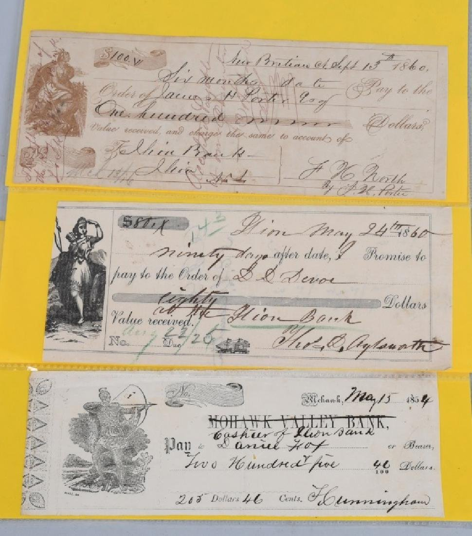 1850s MOHAWK VALLEY & ILLION BANK CHECKS W INDIANS - 5