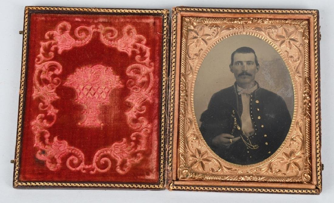 CIVIL WAR 1/4 TINTYPE SOLDIER W PLUMED SLOUCH HAT
