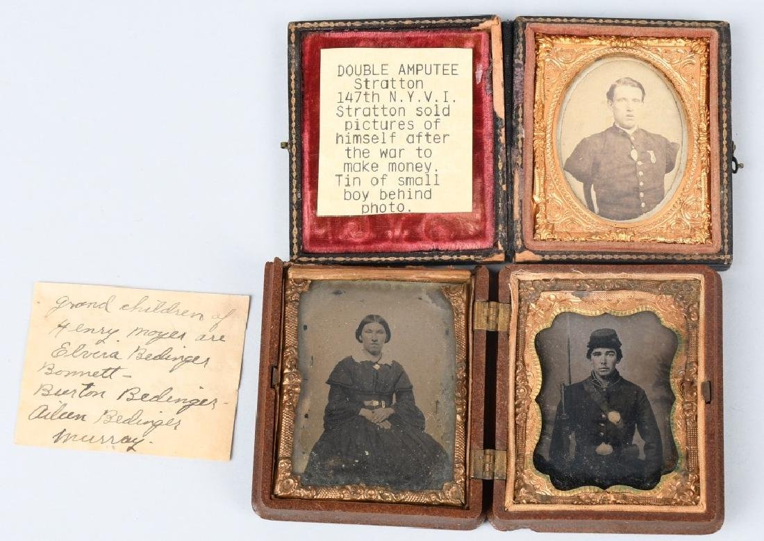 CIVIL WAR IMAGE LOT CDV & TINTYPE BOTH IN 1/9 CASE