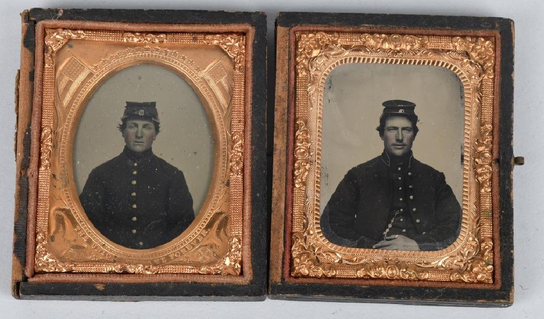 CIVIL WAR TWO 1/9 AMBROTYPE PHOTOS UNION SOLDIERS