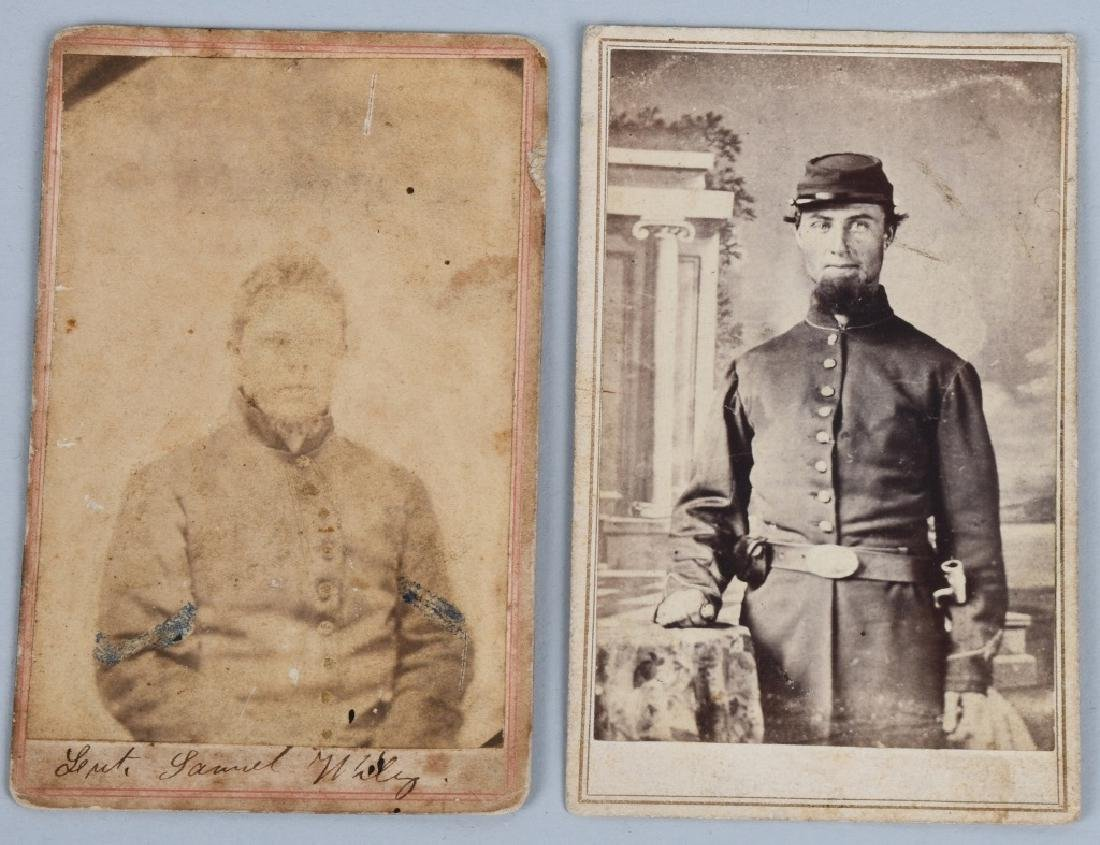 CIVIL WAR SOLDIER CDV LOT - 2 INCLUDING ONE IDED