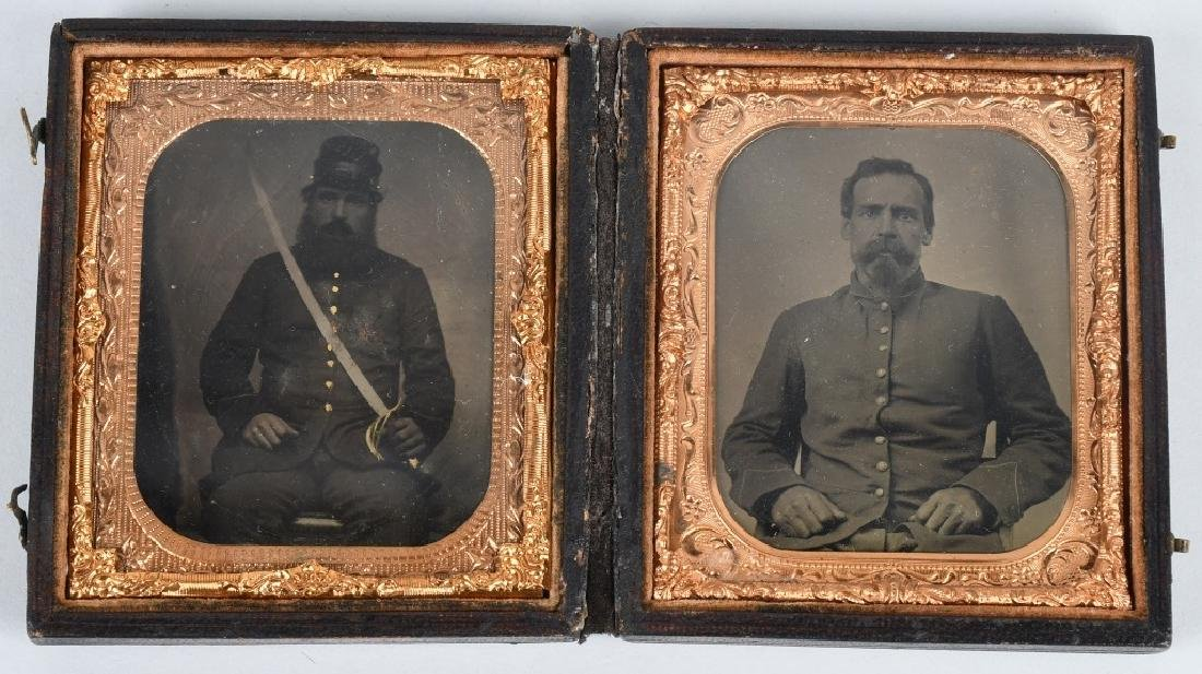 CIVIL WAR 1/6 ARMED CAVALRY TINTYPES DOUBLE CASED
