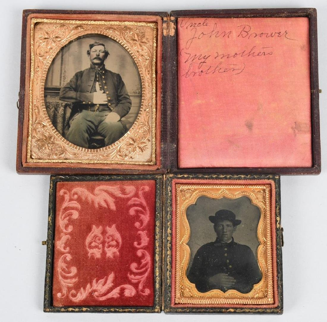 CIVIL WAR 1/6TH & 1/9TH TINTYPE LOT - ONE IDED