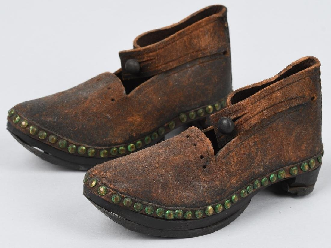 19th CENTURY WOOD SOLE LEATHER SHOES, IRON BOUND