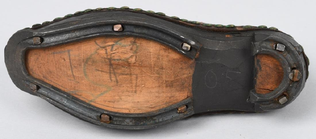 19th CENTURY WOOD SOLE LEATHER SHOES, IRON BOUND - 3