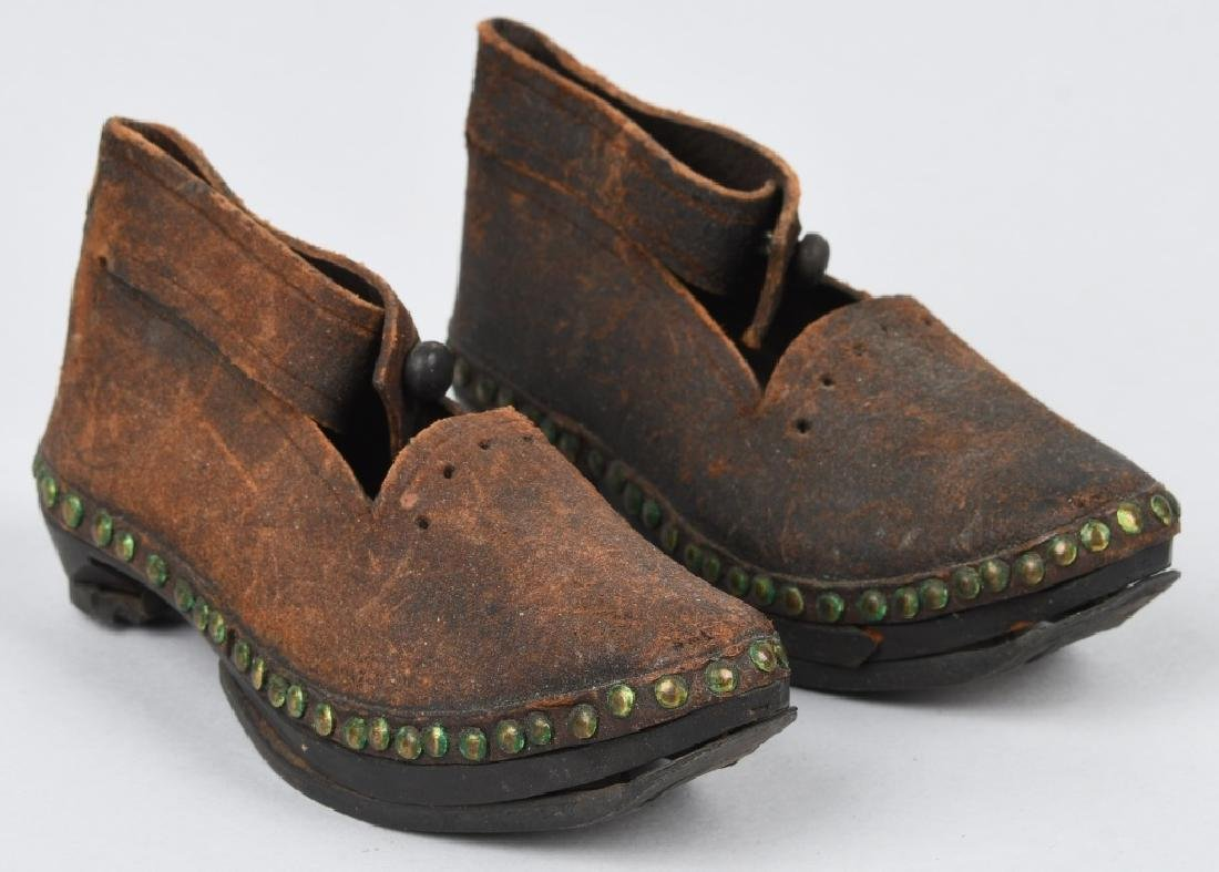 19th CENTURY WOOD SOLE LEATHER SHOES, IRON BOUND - 4