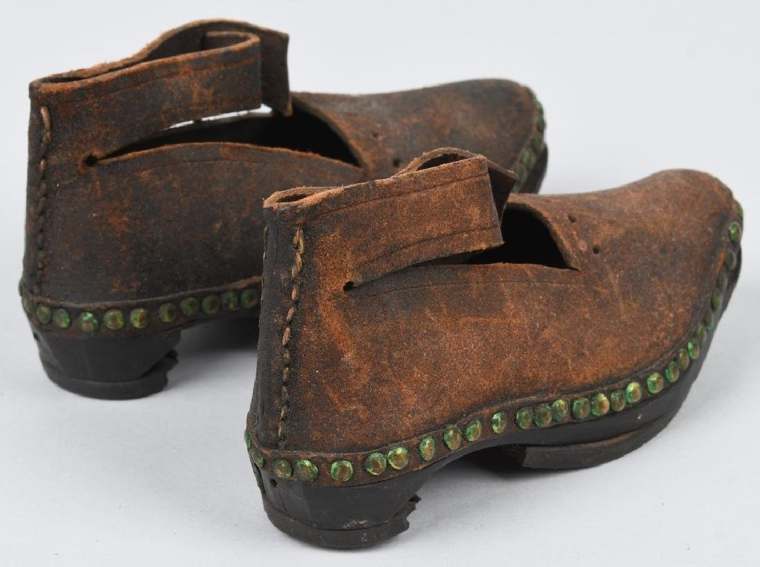 19th CENTURY WOOD SOLE LEATHER SHOES, IRON BOUND - 5