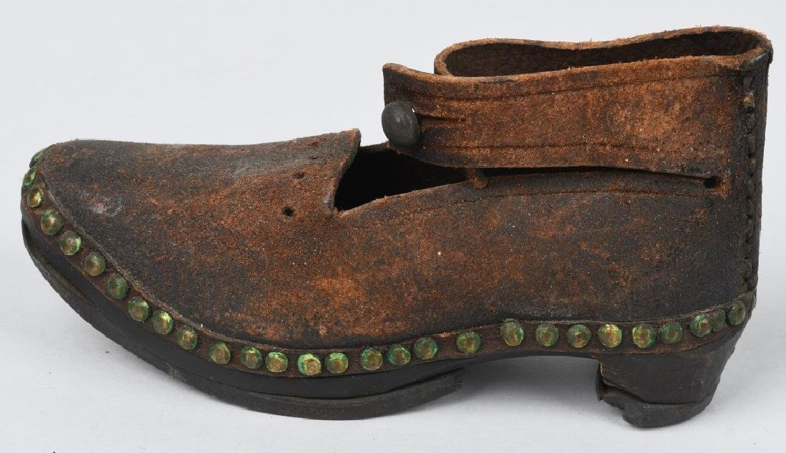 19th CENTURY WOOD SOLE LEATHER SHOES, IRON BOUND - 6