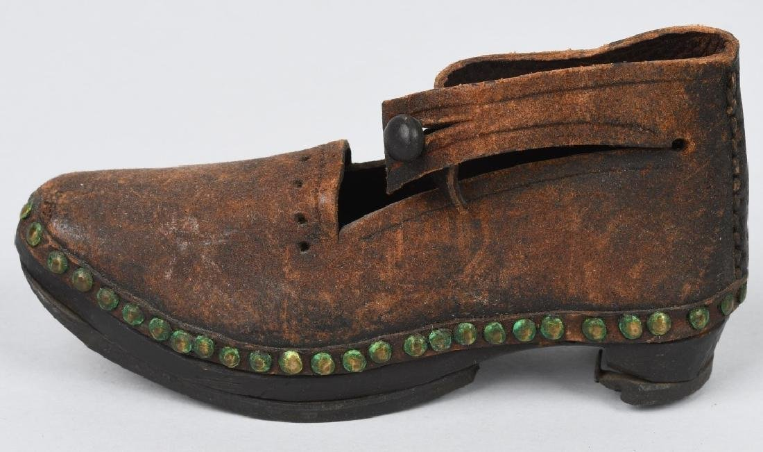 19th CENTURY WOOD SOLE LEATHER SHOES, IRON BOUND - 7