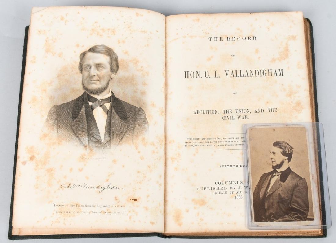 CIVIL WAR CDV CLEMENT VALLANDIGHAM & 1863 BOOK