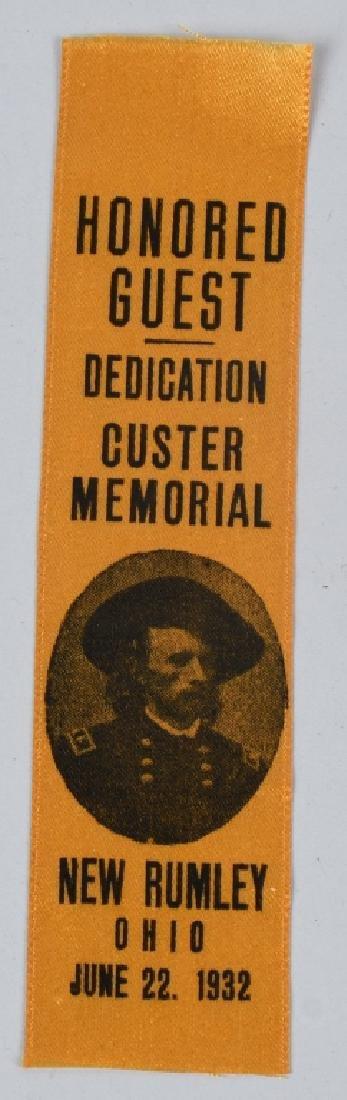 CIVIL WAR GEORGE CUSTER MONUMENT DED. RIBBON