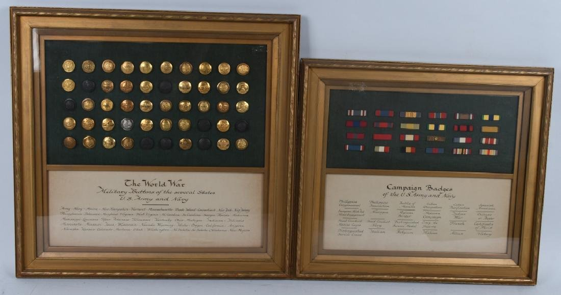 INDIAN WARS - WWI FRAMED RIBBON BARS & BUTTONS