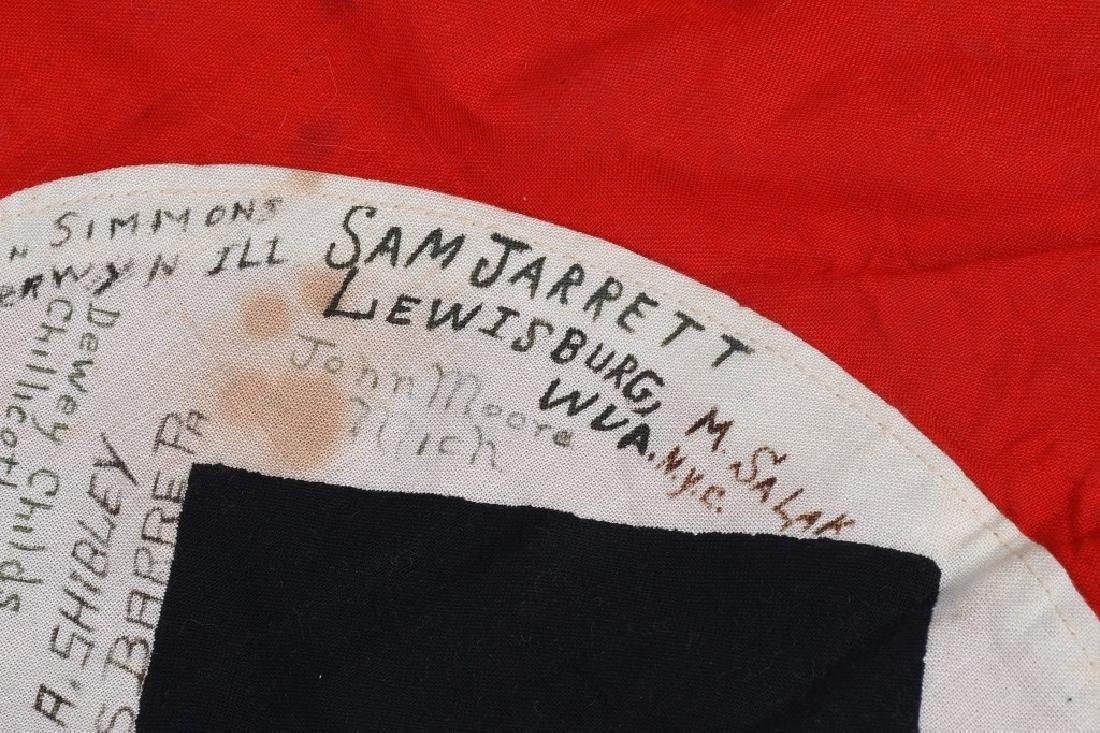 WWII NAZI GERMAN G.I. CAPTURED & SIGNED NSDAP FLAG - 10