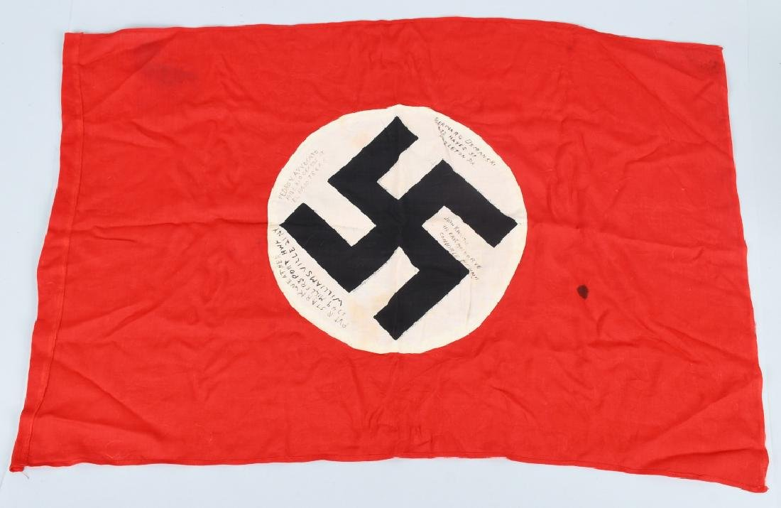 WWII NAZI GERMAN G.I. CAPTURED & SIGNED NSDAP FLAG