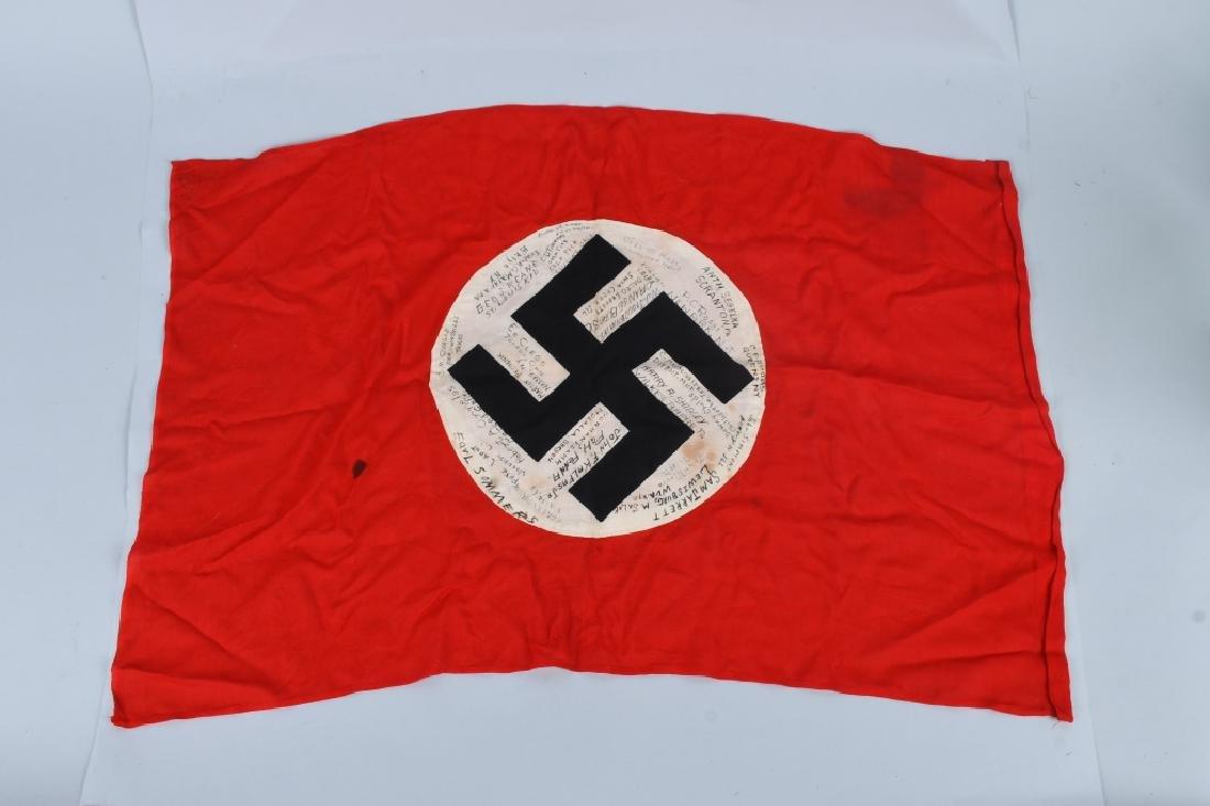 WWII NAZI GERMAN G.I. CAPTURED & SIGNED NSDAP FLAG - 2