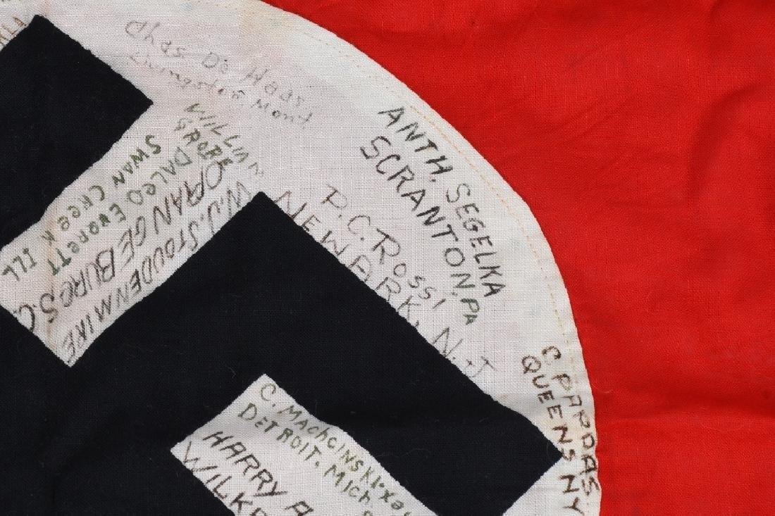 WWII NAZI GERMAN G.I. CAPTURED & SIGNED NSDAP FLAG - 4