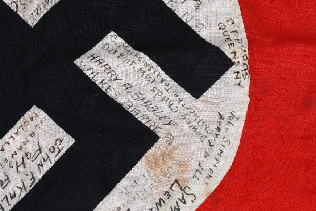 WWII NAZI GERMAN G.I. CAPTURED & SIGNED NSDAP FLAG - 5