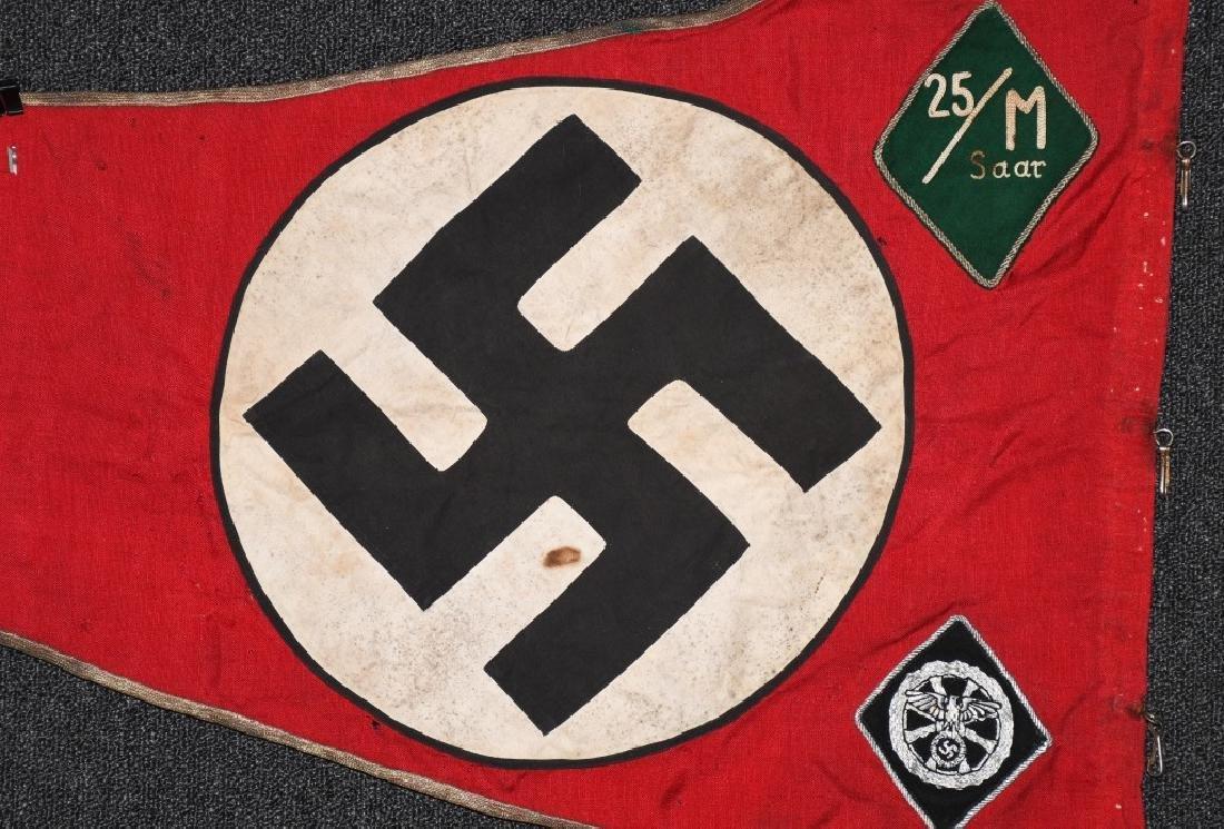 WWII NAZI GERMAN NSKK UNIT MARKED PENNANT - BANNER - 10