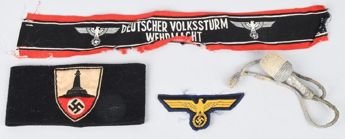 WWII NAZI GERMAN ARMBAND & INSIGNIA LOT