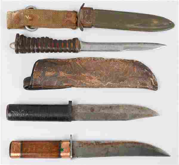 WWII U.S. THEATER MADE FIGHTING KNIFE LOT