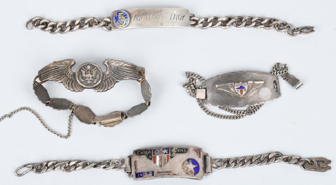 WWII U.S. ARMY CBI & 5TH AAF ID BRACELET LOT (4)