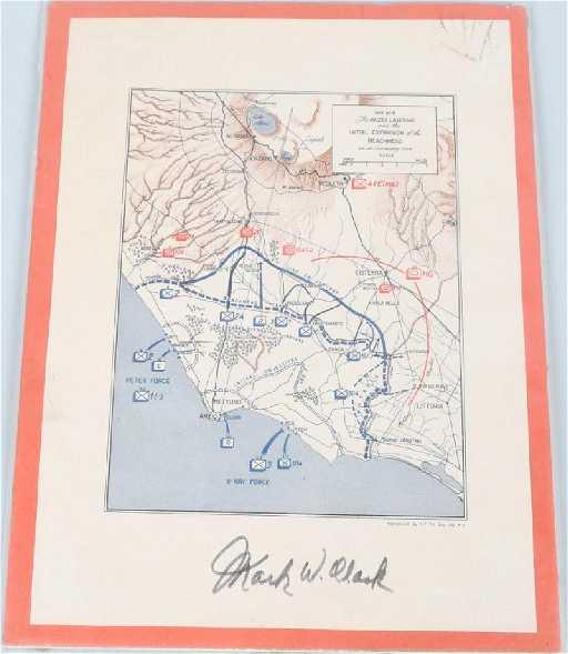 Wwii Us Map Anzio Landing Signed By Gen Mark Clark