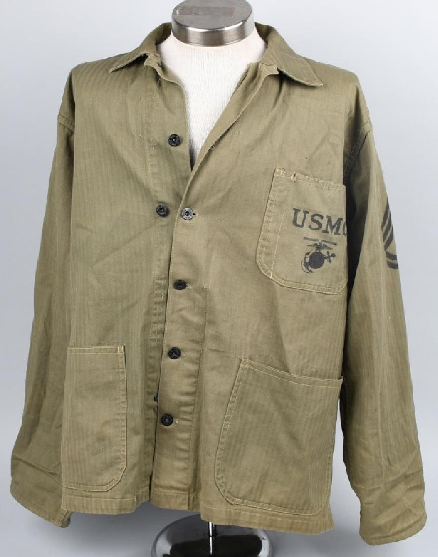 WWII USMC P44 HBT TUNIC WITH PAINTED RANK INSIGNIA