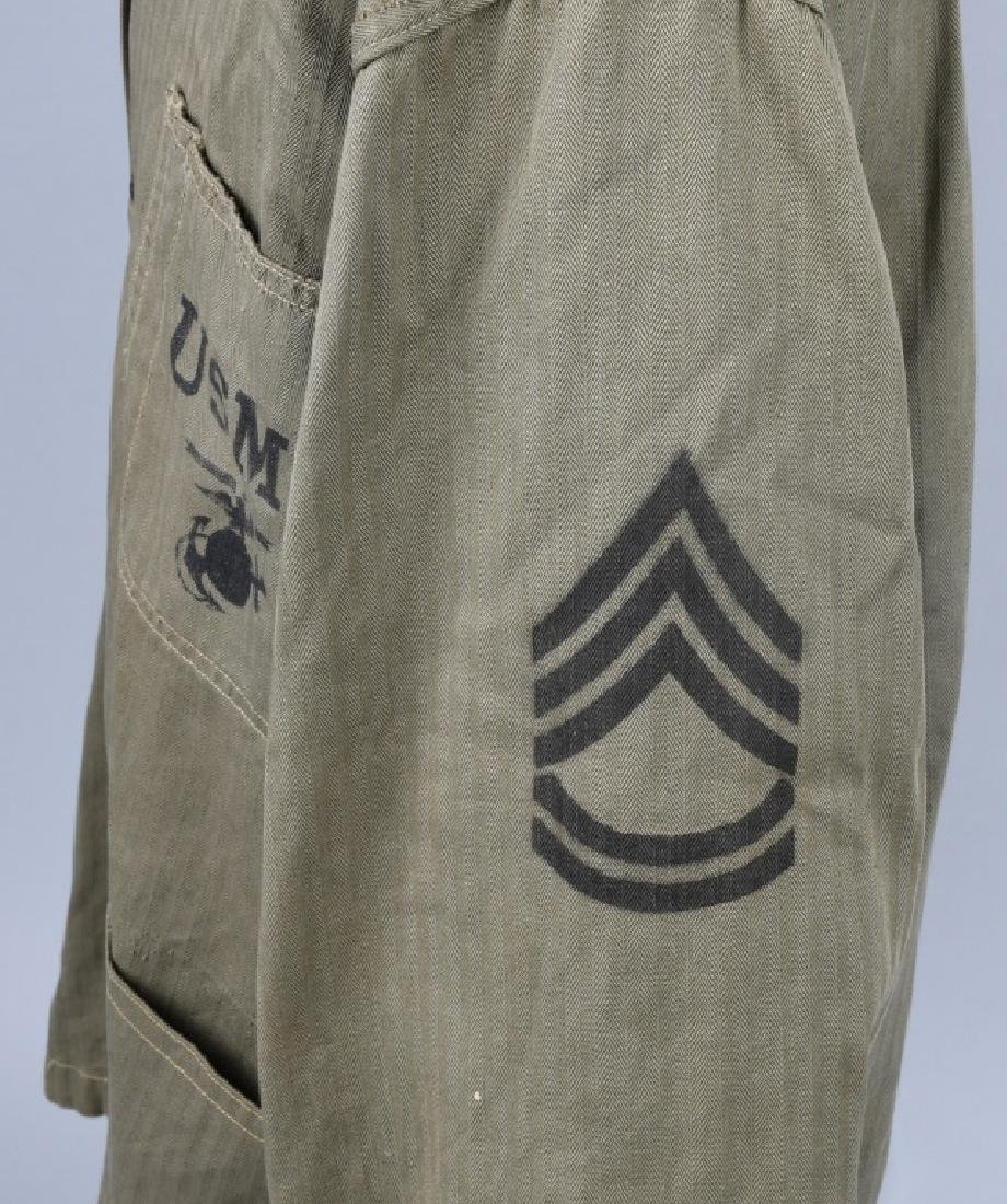WWII USMC P44 HBT TUNIC WITH PAINTED RANK INSIGNIA - 3