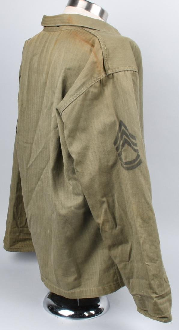 WWII USMC P44 HBT TUNIC WITH PAINTED RANK INSIGNIA - 5
